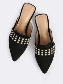 Black Mules with Pearls