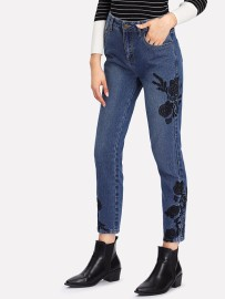 Black Embroidered Jean
