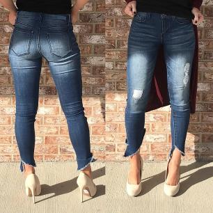 Asymmetric Ankle Jeans